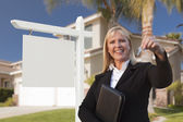 Blank Sign and Real Estate Agent Handing Over the Keys — Stock Photo
