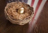 Golden Egg in Nest with American Flag Reflection on Table — Stock Photo