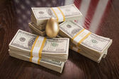 Golden Egg and Thousands of Dollars with American Flag Reflectio — Stock Photo