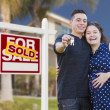 Hispanic Couple, Keys, New Home and Sold Real Estate Sign — Stock Photo