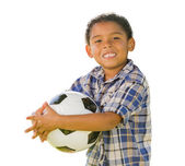 Mixed Race Boy Holding Soccer Ball on White — Stock Photo