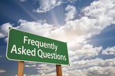 Frequently Asked Questions Green Road Sign — Stock Photo