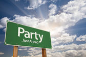 Party Green Road Sign — Foto Stock