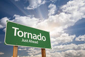 Tornado Green Road Sign — Stock Photo
