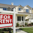 For Rent Real Estate Sign in Front of House — Stock Photo #5177593