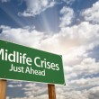 Midlife Crises Just Ahead Green Road Sign and Clouds — Stock Photo #8987813