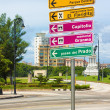 Stock Photo: Signpost with directions to landmarks in Havana