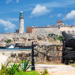 The castle of El Morro in Havana with an old cannon — Stock Photo #12624386