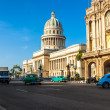 Vintage cars near the Capitol in Havana — Stock Photo