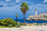 The castle of El Morro in Havana and a nearby park — Foto de Stock