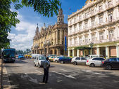 And traffic near the Central Park of Havana — Stock Photo