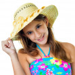 Hispanic girl wearing a swimsuit and a straw hat — Stock Photo