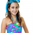 Hispanic girl with a diving mask and snorkel — Stock Photo