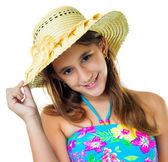 Hispanic girl wearing a swimsuit and a straw hat — Foto de Stock