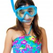 Hispanic girl with a diving mask and snorkel — Stock Photo #13135061
