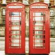 Stock Photo: The famous red phone cabins in London