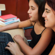Stock Photo: Hispanic girl and her young mother using a computer at home