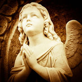 Praying angel in sepia shades — Stock Photo