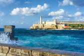 Storm in Havana with a view of El Morro — Stok fotoğraf