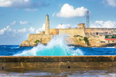 Hurricane in Havana and the castle of El Morro — Stock Photo