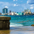 The skyline of Havana with a turbulent sea — Stock Photo