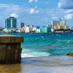 The skyline of Havana with a turbulent sea — Stock Photo