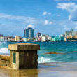 The skyline of Havana with a turbulent sea — Stock Photo #14154245