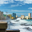 Hurricane in Havana with huge sea waves — Stock Photo #14154330