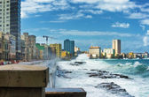 Hurricane in Havana with huge sea waves — Stock Photo