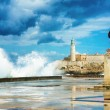 The castle of El Morro in Old Havana in a storm - Foto Stock