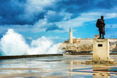 The castle of El Morro in Old Havana in a storm — Foto de Stock