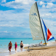 tourists enjoying the beach of varadero in cuba — Stock Photo