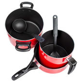 Top view of red cooking pans and pots — Stock Photo