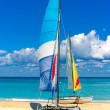 Two beautiful sailing boats on a cuban beach — Stock Photo