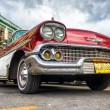 Low angle view of an old red Chevrolet in Havana — Stock Photo #16184755