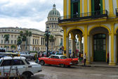 And traffic near the Capitol in Havana — Stock Photo