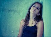 Artistic portrait of a sad latin girl — Stock Photo