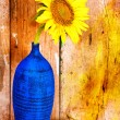 Sunflower on a blue vase with an old wood planks background — Stock Photo
