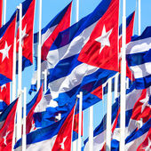 Group of cuban flags — Stock Photo