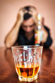 Drunk and depressed man addicted to alcohol — Stock Photo