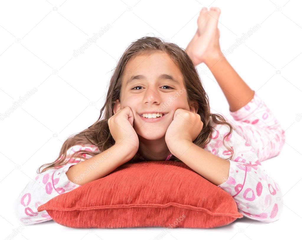Girl Laying On The Floor Wearing Her Pajamas Stock Photo Kmiragaya 26620121