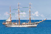 Sailing ship on a calm blue sea — Stock Photo