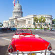 Old convertible car near the Capitol in Havana — Stock Photo