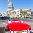 Stock Photo: Old convertible car near the Capitol in Havana