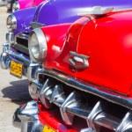 Group of vintage american cars in Havana — Stock Photo