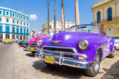 Several classic american cars in Havana — Stock Photo