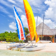 Colorful catamarans at a resort on a beach in Cuba — Stock Photo #28082901