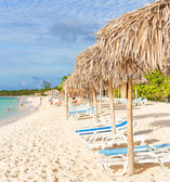 Thatched umbrellas at a tropical beach in Cuba — Foto Stock
