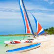 Marina with colorful catamarans  at a beach in Cuba — Stock Photo