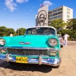 Old american car in the Revolution Squarein Havana — Stock Photo